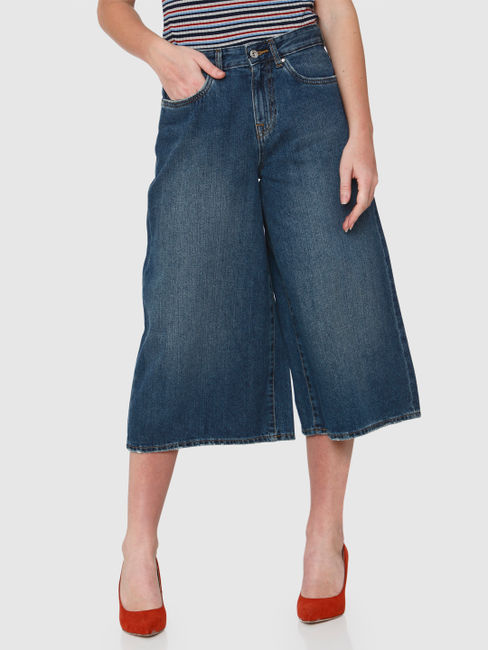 Blue High Rise Wide Leg Denim Culottes