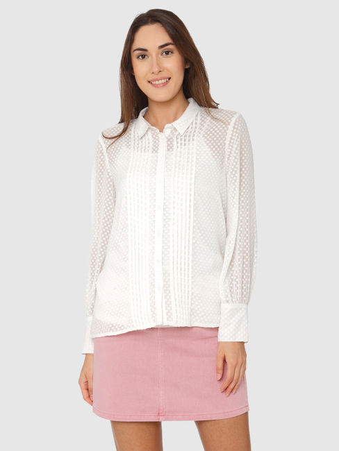 White All Over Micro Square Print Sheer Shirt