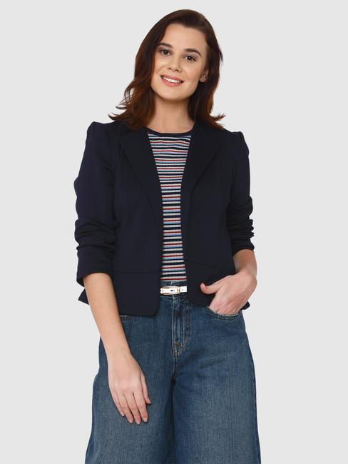 Navy Blue Peplum Slim Fit Blazer