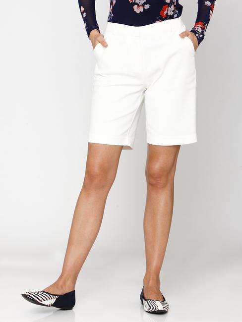White Mid Rise Shorts