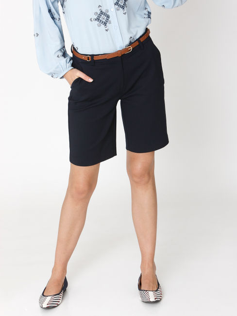 Navy Blue Mid Rise Shorts