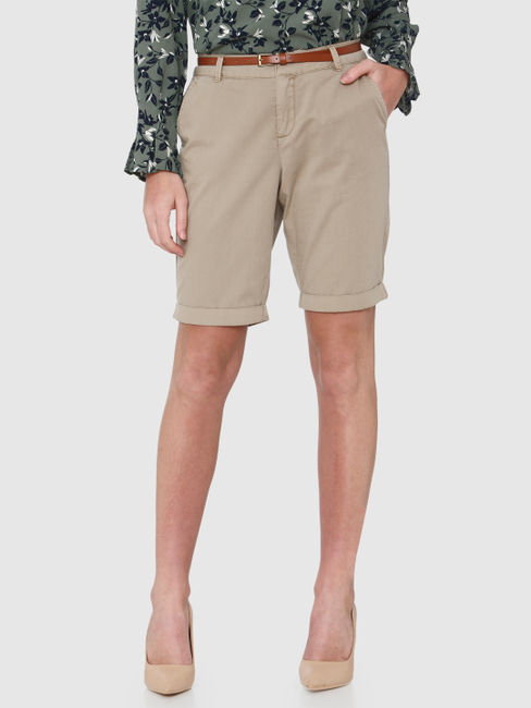 Brown Mid Rise Rolled Up Hem Shorts