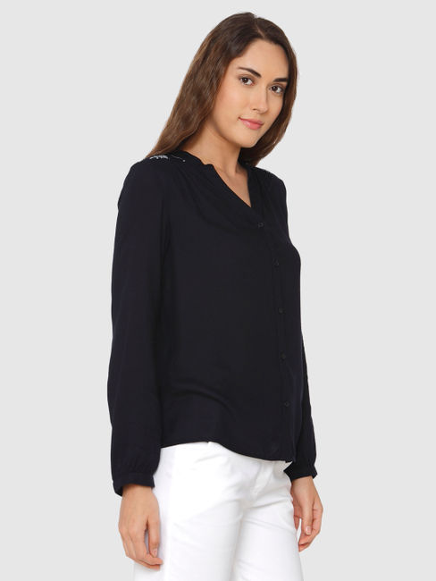 Navy Blue Embroidered Back Cuff Sleeves Shirt