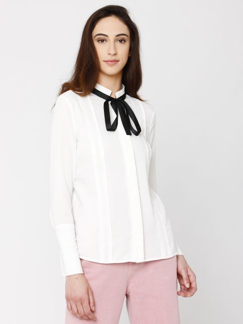 White Bow Detail Shirt