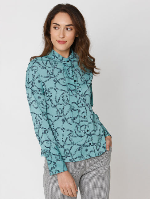 Green All Over Rope And Anchor Print Shirt