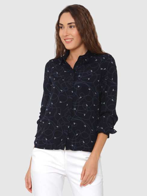 Navy Blue All Over Anchor Print Shirt