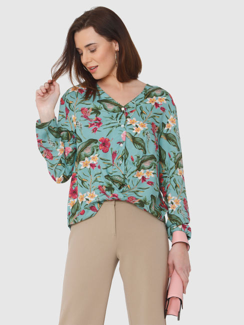 Green All Over Floral Print Shirt