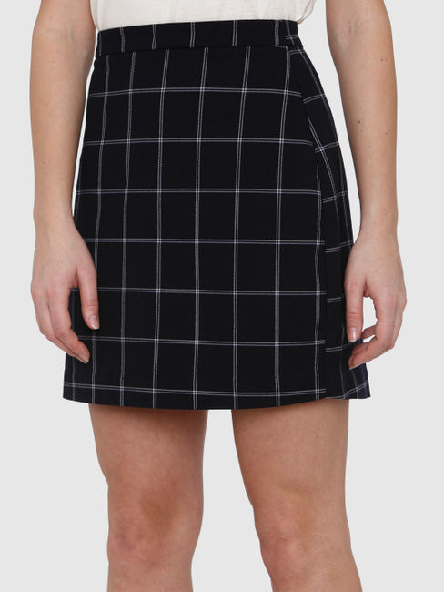 Navy Blue High Rise Checks Mini Skirt