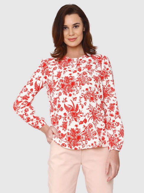 White All Over Floral Print Shirt