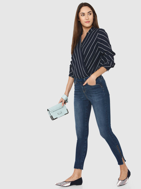 Blue Mid Rise Side Slit Zip Ankle Length Skinny Fit Jeans