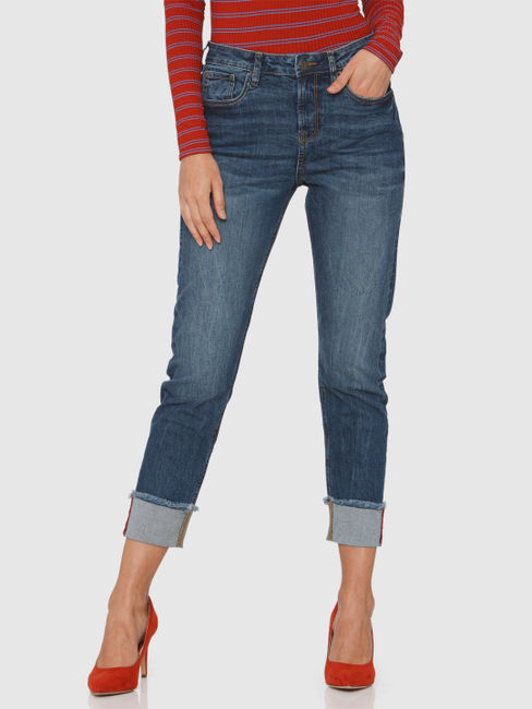Blue Mid Rise Fold Up Hem with Side Tape Detail Anti Fit Jeans
