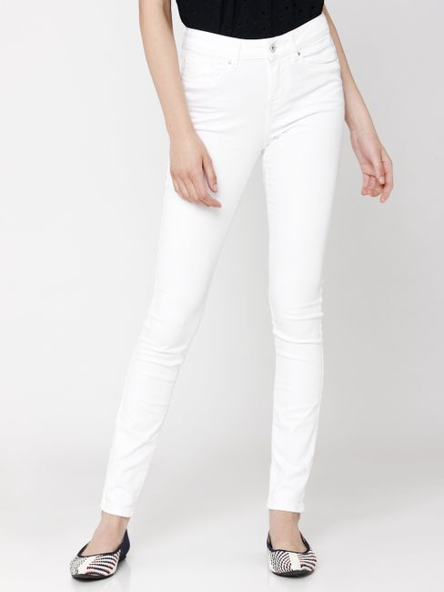 White Mid Rise Back Lace Embroidery Detail Skinny Fit Jeans