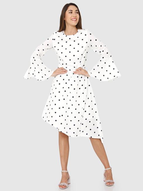 White Polka Dot Print Asymmetric Midi Dress