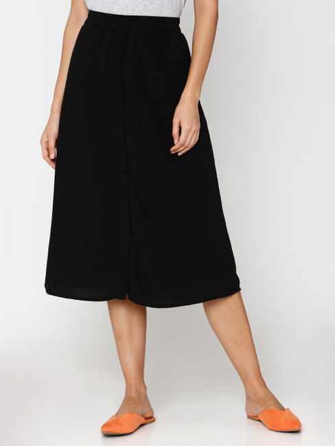 Black Mid Rise Midi Skirt