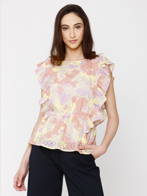 Beige All Over Cut Work Embroidery Ruffle Top