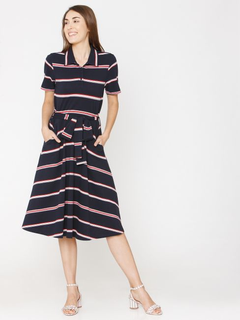 Navy Blue Striped Midi Shirt Dress