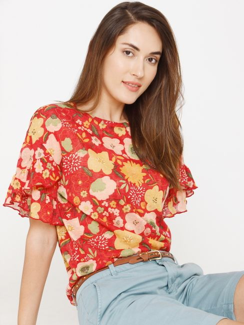 Red Floral Print Top