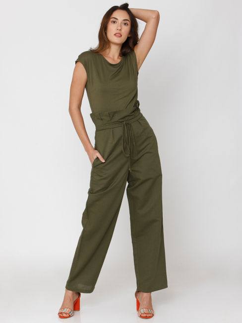 Green Paper Bag Drawstring Waist Jumpsuit