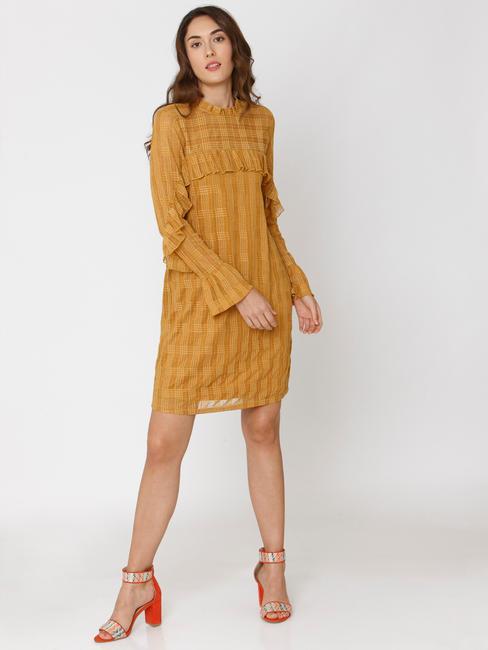 Mustard Check Lace Shift Dress