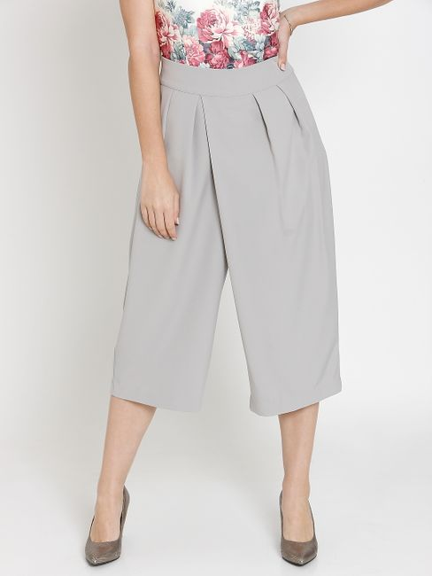 Grey Pleated Midi Culottes