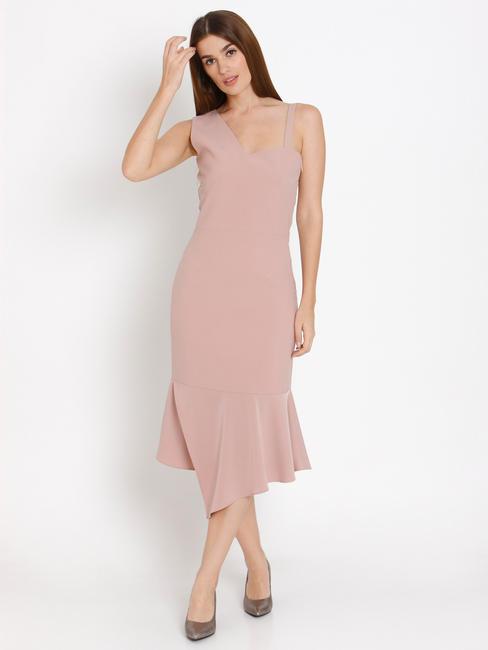 Beige Asymmetric Bodycon Midi Dress
