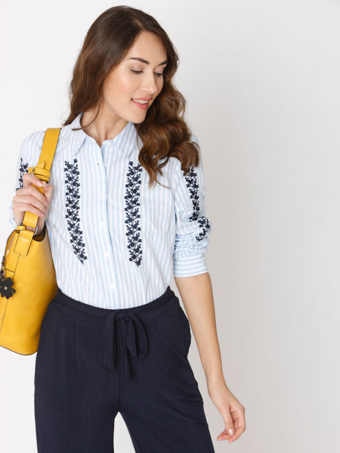 White Striped Embroidered Shirt