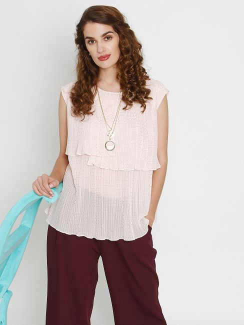 Pink Layered Pleated Top
