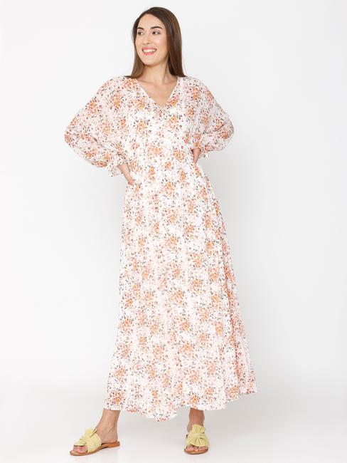 Off-White Floral Print Maxi Dress