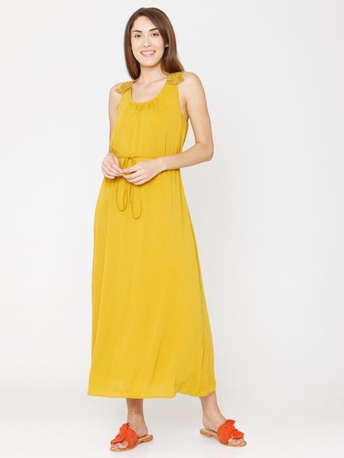 Mustard Lace Insert Midi Dress