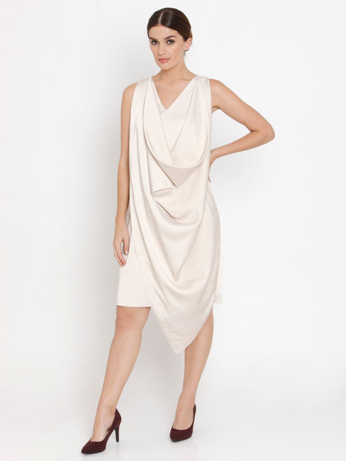 Beige Overlap Shift Dress