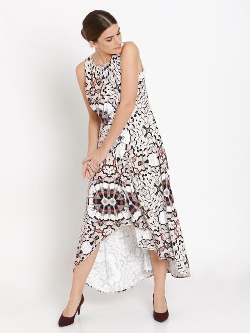 White Abstract Print Asymmetric Maxi Dress