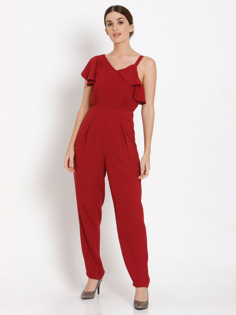 Red Flounce Jumpsuit