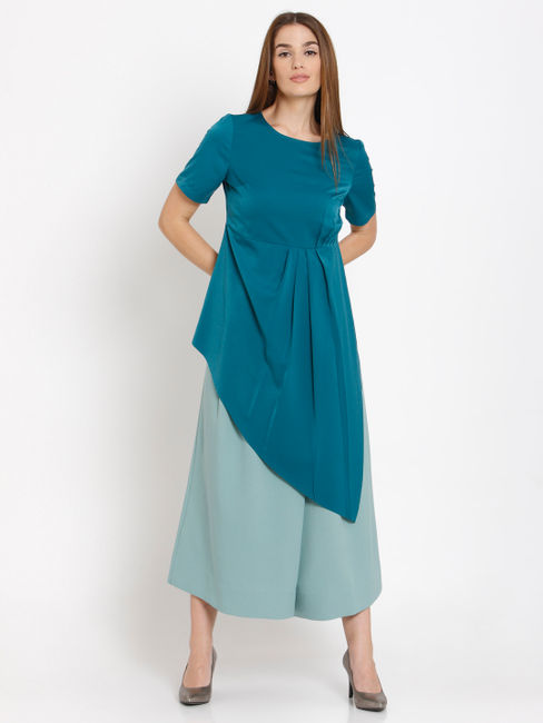 Blue Asymmetric Pleated Top