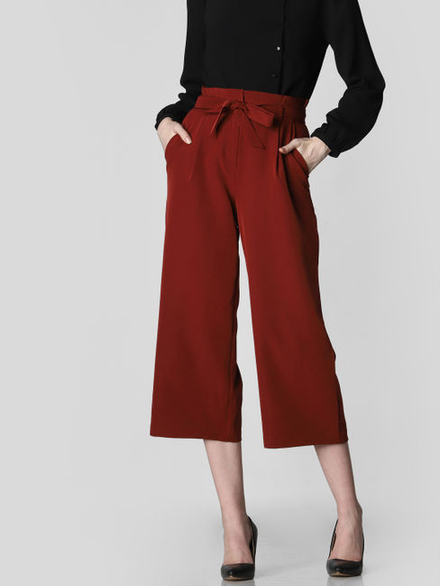 Brown Paper Bag Waist Culottes