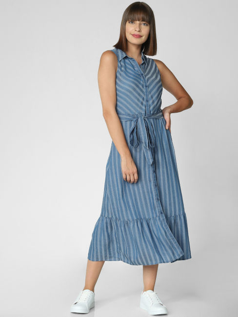 Blue Striped Belted Shirt Dress