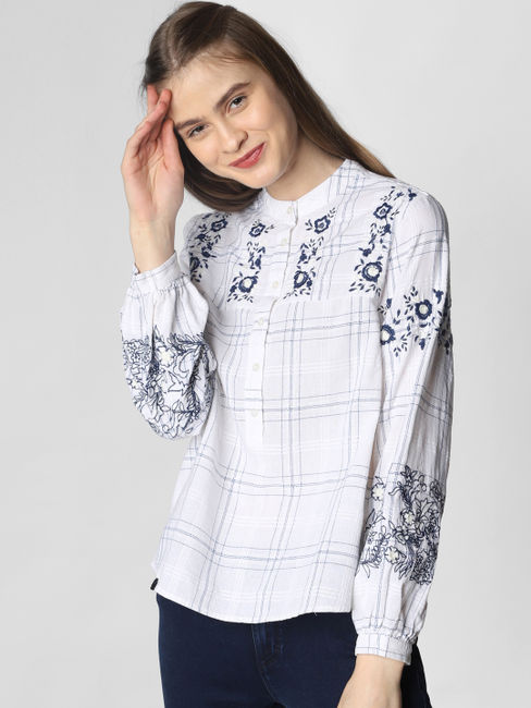 White Embroidered Check Top
