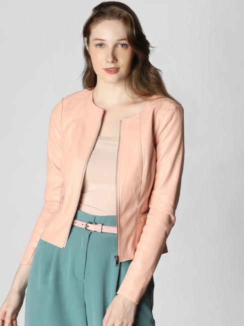 Peach Zip Up Casual Jacket