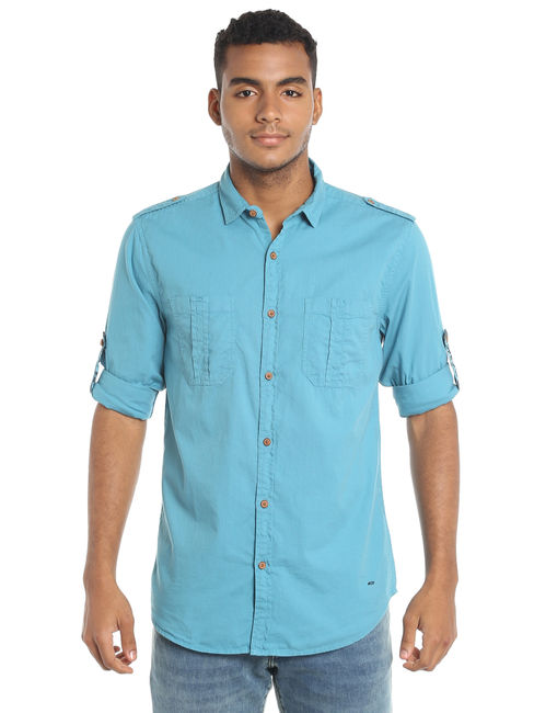 Teal Blue Slim Fit Shirt