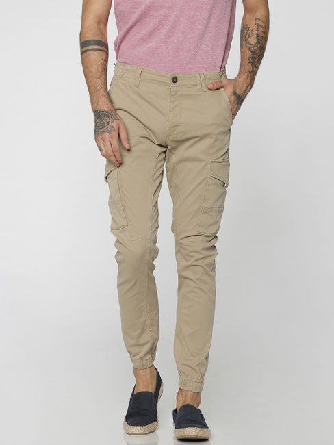 Beige Cargo Style Anti-Fit Joggers