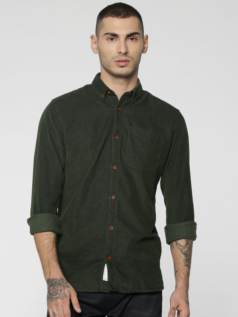 Olive Green One Pocket Corduroy Full Sleeves Shirt