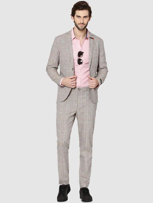 Beige Plaid Slim Fit Trousers
