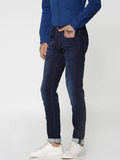 Dark Blue Washed Glenn Slim Fit Jeans