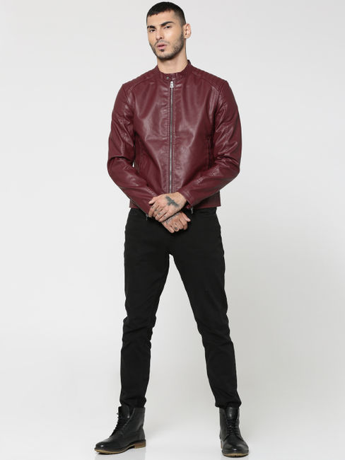 Burgundy PU Biker Jacket