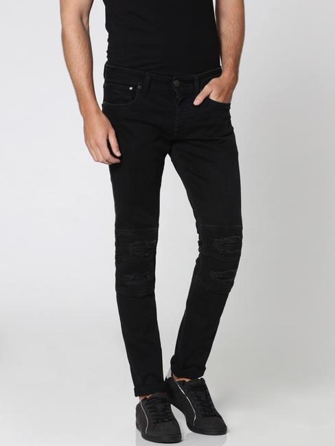 Black Distressed Biker Glenn Slim Fit Jeans