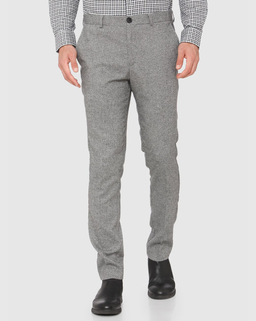 Grey Mid Rise Slim Fit Formal Trousers