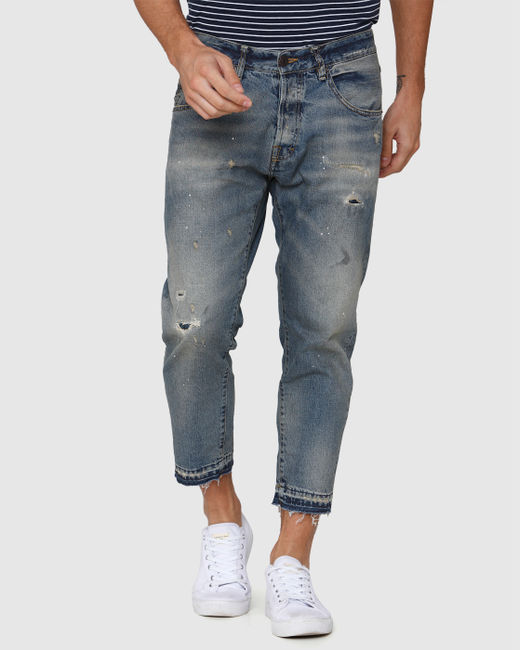 Blue Distressed Regular Fit Jeans