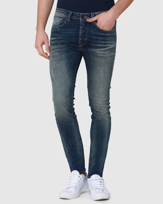 Blue Distressed Skinny Fit Jeans
