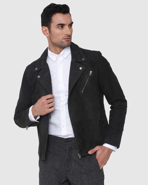 SELECTED Dark Grey Suede Biker Jacket