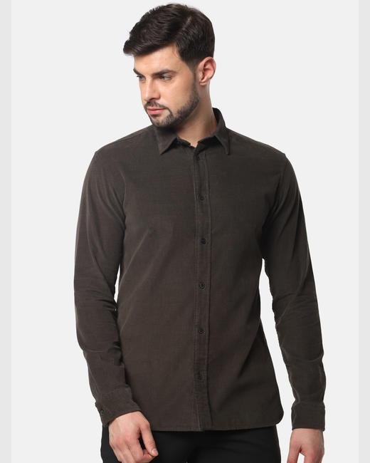 Dark Grey Corduroy Full Sleeves Shirt