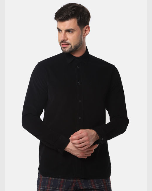 Black Corduroy Full Sleeves Shirt